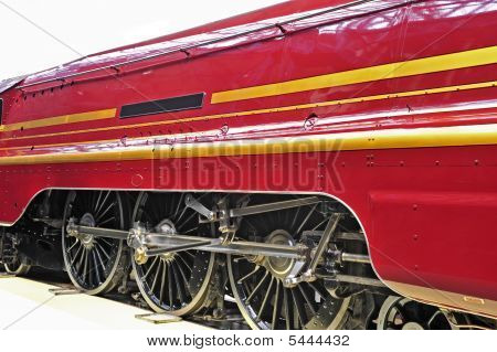 Red Railway Engine Side Elevation Isolated On White