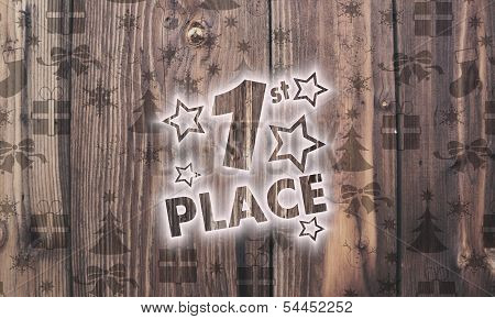 Wooden 1St Place Symbol With Presents