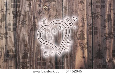 Wooden Heart Symbol With Presents