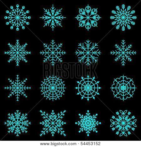 Create Snowflake Icons On Black Background