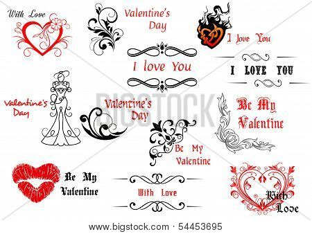Valentine's Day Design Elements With Calligraphic Scripts