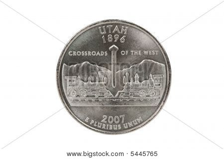 Utah State Quarter Coin With Clipping Path