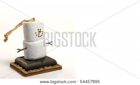 Smores Snowman Christmas Holiday Ornament On Left with White Space