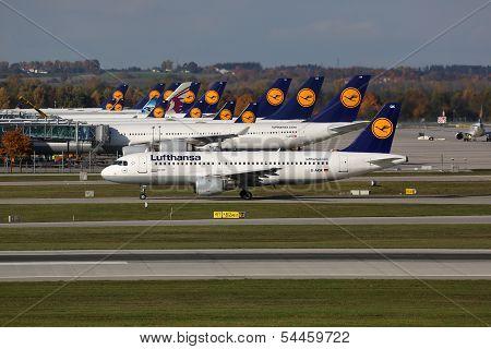 Lufthansa Airplanes At Munich Airport
