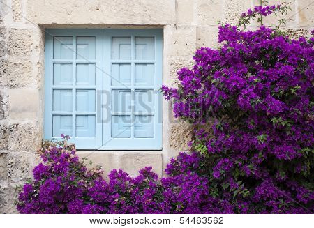 Old Facade With Blue Window And Purple Flowers