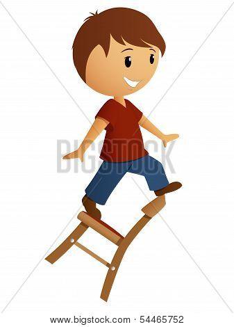 Boy Balance On The Chair
