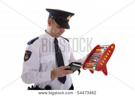 Dutch Police Officer Is Counting Vouchers Quotas With Abacus Over White Background