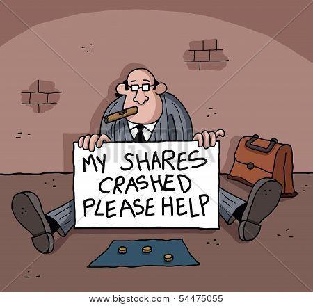 Businesman is begging