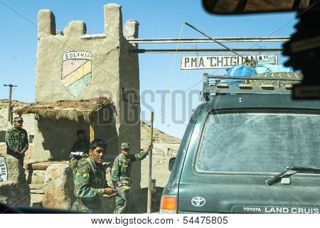 ALTIPLANO, BOLIVIA - JAN 10: One of military checkpoints, Jan 10, 2011 on Altiplano, Bolivia. From 6 Apr 11, Minister of Defense is Sessiliya Chacon -first woman in that position in history of country