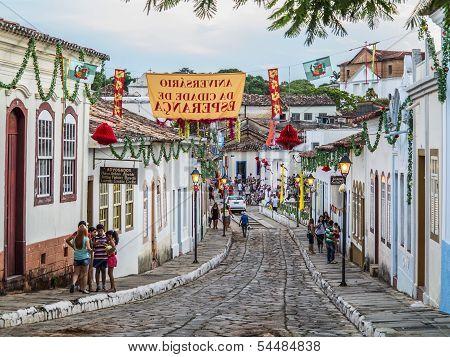 A Cobblestone Street In The Unesco World Heritage Site Of Goias Velho.