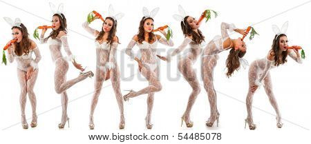 Lovely women in rabbit costume with carrots