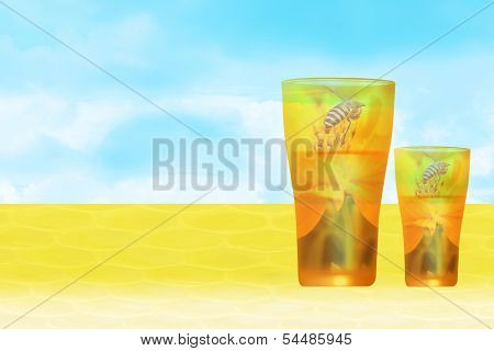 Glass of honey and sky background.