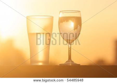 a beautiful  glass and champagne