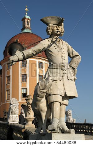 Statue of a Bugler in front of the Moritzburg Castle
