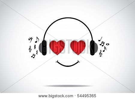 Young Happy Person Illustration Of Listening To Great Music With Heart Shaped Eyes - Love Music