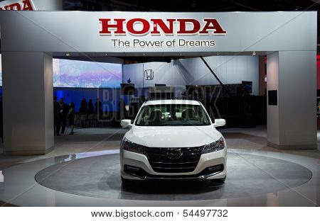 LOS ANGELES, CA - NOVEMBER 20: A Honda Accord Hybrid on exhibit at the Los Angeles Auto Show in Los Angeles, CA on November 20, 2013