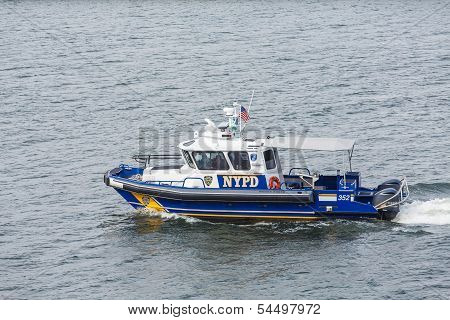A New York City Police boat in New York harbor poster