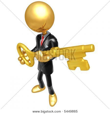 3D Gold Guy Businessman Character