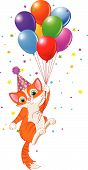 Cute Kitten with Party Hat Hanging from a Balloons poster