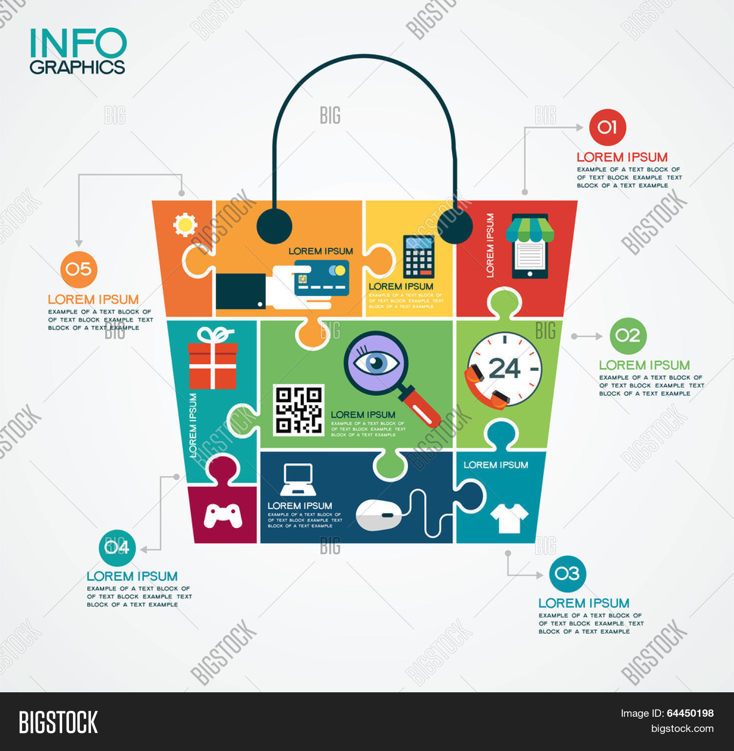E commerce infographic template vector photo bigstock e commerce infographic template with bag puzzle and interface icons concept add to altavistaventures Images