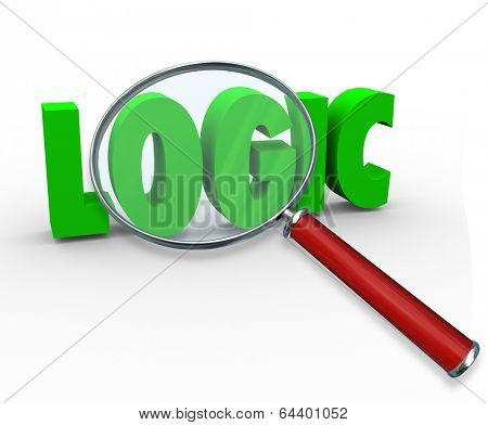 Logic Word 3D Letters Magnifying Glass Reason Scientific Thought