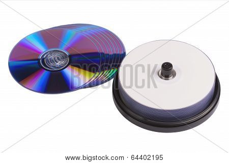 Some Blank Writable Dvd Discs On White Background