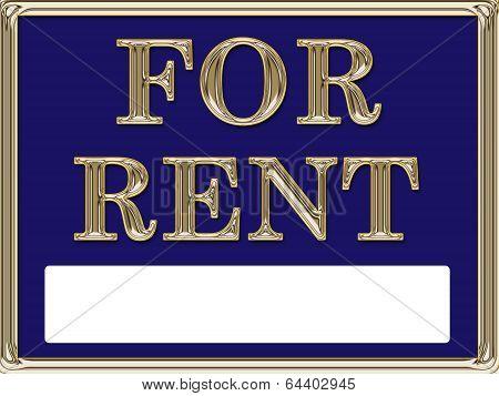 For Rent Real Estate Sign Gold