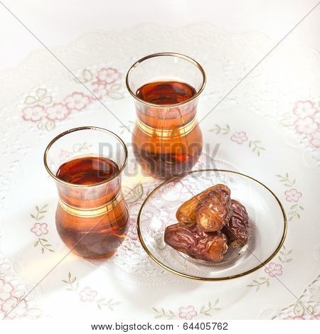 Arabic dates and black tea poster