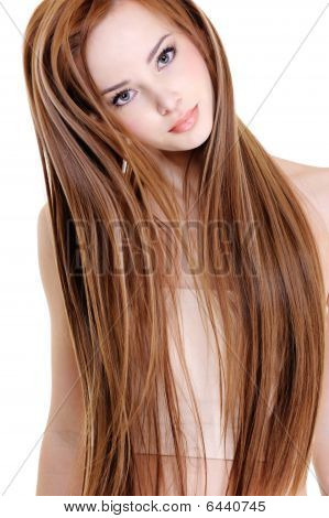 portrait of the beautiful young woman with beauty long straight hairs poster