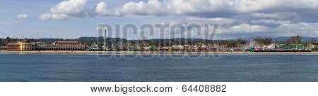 Santa Cruz  Beach Boardwalk. Panorama.