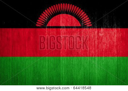Malawi Flag On Wood Background