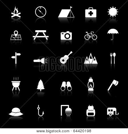 Camping Icons With Reflect On Black Background