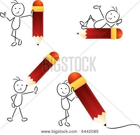 Stick Figure With Pencil