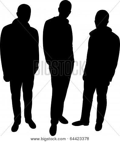 three men silhouette vector