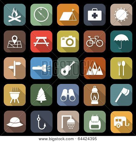 Camping Flat Icons With Long Shadow