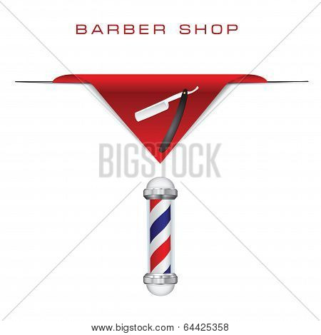 Symbols hairdresser old style razor and Barber shop pole. Vector illustration. Drawings made ??without trace. poster