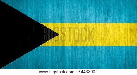 Bahamas Flag On Wood Background