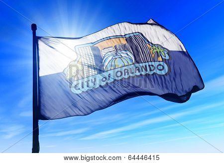 Orlando, Florida (usa) Flag Waving On The Wind