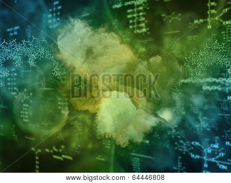 Molecular Dreams series. Visually pleasing composition of conceptual atoms molecules and fractal elements to serve as background in works on biology chemistry technology science and education poster