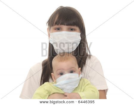 Two Children In Medical Masks