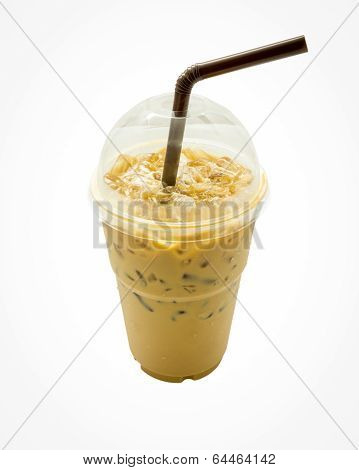 Iced coffee with straw in plastic cup isolated
