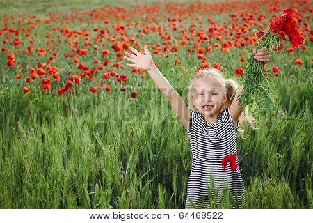 Little girl on the poppy meadow