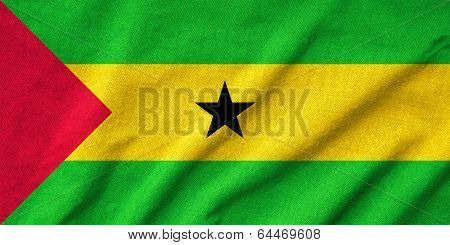 Ruffled Sao Tome And Principe Flag