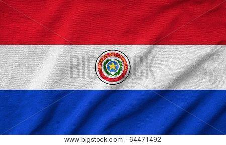 Ruffled Paraguay Flag