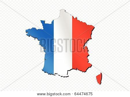 Map and flag of France , French Republic