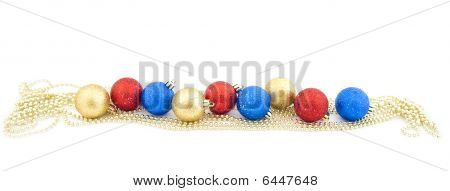 Sparkling Christmas Balls And Golden Beads - New Year's Dekorations