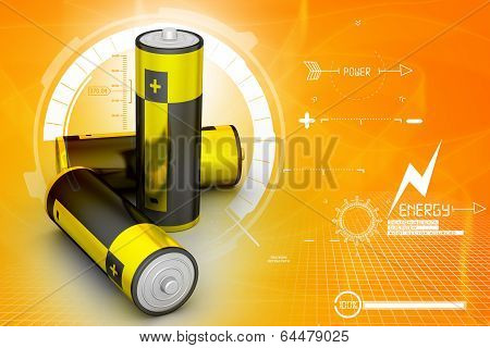 3d rendered Batteries in attractive color background poster