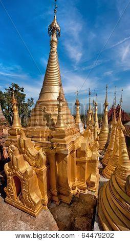Golden Stupas Of Shwe Indein Pagoda. Myanmar (Burma)