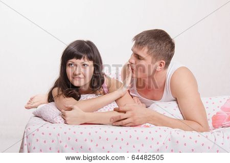Young Girl Refuses To Kiss A Guy In Bed
