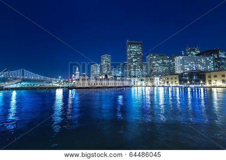 San Francisco sunset skykine from Pier 7 in California USA